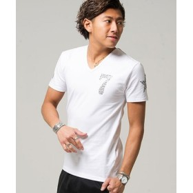 (SILVER BULLET/シルバーバレット)CavariA【キャバリア】ラインストーン付きVネックTシャツ/メンズ ホワイト 送料無料