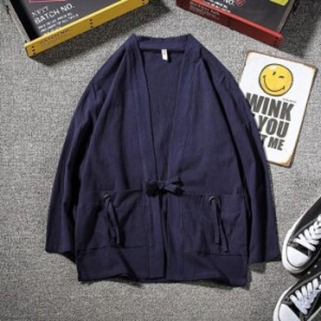 和服 メンズ 夏服 Tシャツ 半袖 無地 七分袖 パーカー おしゃれ 大きいサイズ カットソートップス フード付き インナー ゆったり カジュ