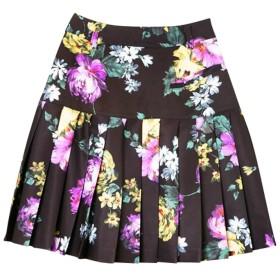 rienda suelta VintageFlowerプリーツスカート ブラック