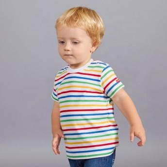 ミキハウス ボーダー半袖Tシャツ マルチカラー
