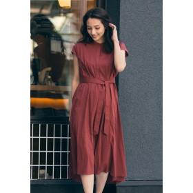 LAUTREAMONT フレアーをたっぷりいれた贅沢で上品なシルエットのドレス ワンピース,オレンジ