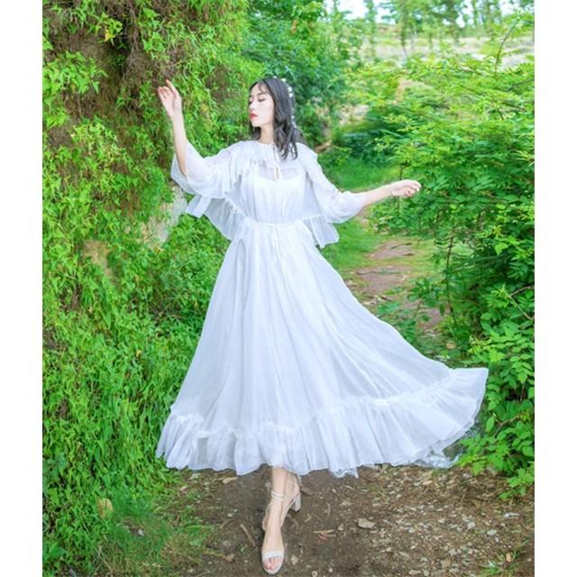 限定SALE インスタでも話題♪ 韓国ファッション CHIC気質 新品 フリル シフォン ドレス フェアリースカート ロングスカート