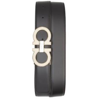 サルヴァトーレ フェラガモ メンズ ベルト アクセサリー Salvatore Ferragamo Reversible Leather Belt Nero / Hickory