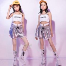 キッズ ダンス衣装 女の子 ヒップホップ HIPHOP タンクトップ ダンスパンツ セットアップ ジャズダンス ステージ衣装 練習着 団体服