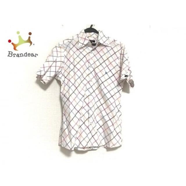 バーバリーブラックレーベル 半袖シャツ サイズ2 M メンズ 白×マルチ チェック柄   スペシャル特価 20190911