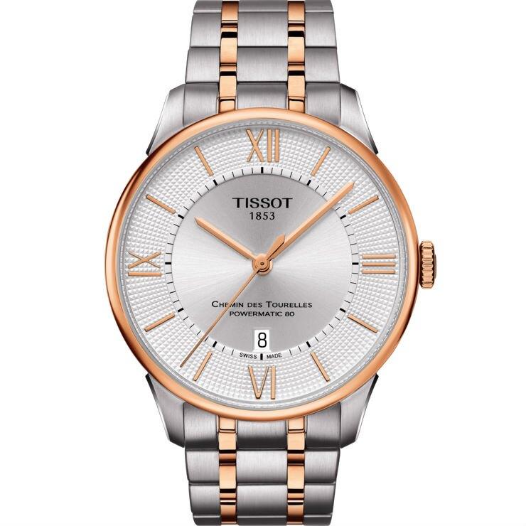 TISSOT 天梭表 T0994072203802 杜魯爾系列雙色機械腕錶 / 銀白 42mm