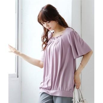 胸元ビジュー付カットソートップス (大きいサイズレディース)Tシャツ・カットソー