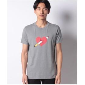 SISLEY シルクタッチプリント半袖Tシャツ・カットソー(グレー)