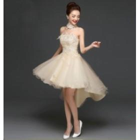 お呼ばれ 前短後長ドレス Formal dress パーティードレス フォーマル 韓國風 司會 年會 著痩せ 洋服 結婚式 二次