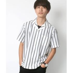 【50%OFF】 ラザル ポリストライプ リラックスオープンカラーシャツ メンズ ホワイト M 【LAZAR】 【セール開催中】