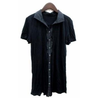 【中古】アリスバーリー Aylesbury ワンピース シャツ ミニ 半袖 スキッパーカラー 紺 ネイビー /YI レディース