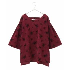 eur3 【大きいサイズ】フラワーフロッキープルオーバー Tシャツ・カットソー,パープル