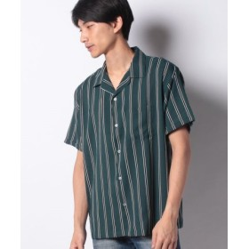 (WEGO/ウィゴー)ダークストライプ開襟シャツ(S)/メンズ グリーン系