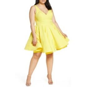 マックダガル レディース ワンピース トップス Mac Duggal Fit & Flare Party Dress (Plus Size) Lemon