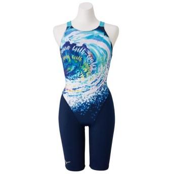 MIZUNO SHOP [ミズノ公式オンラインショップ] 競泳用ハーフスーツ(オープン)[レディース] 81 ネイビー×ブルー N2MG9752