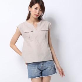 ルーミィーズ Roomy's ミリタリーポケットスキッパーシャツ (ベージュ)
