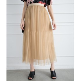 Libby & Rose チュールプリーツロングスカート ベージュ M レディース 5,000円(税抜)以上購入で送料無料 ロングスカート 夏 レディースファッション アパレル 通販 大きいサイズ コーデ 安い おしゃれ お洒落 20代 30代 40代 50代 女性 スカート