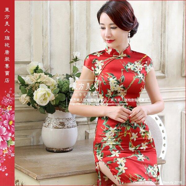 東方美人旗袍唐裝專賣店 晶瑩(紅色)。仿絲軟緞印花時尚短旗袍