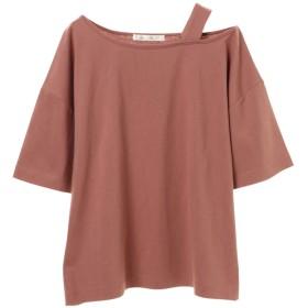グリーンパークス Green Parks PetitFleur ワンショルダーストラップTシャツ (Pink)