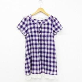 【中古】179/WG チュニック シャツ 長袖 ひざ丈 チェック柄 ボタン装飾 コットン 紫 白 38 レディース
