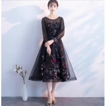 花柄 姫系 お呼ばれドレス パーティードレス 長袖 イブニングドレス フォマールドレス 発表會 宴會 フェミニン