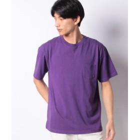(WEGO/ウィゴー)WEGO/USAコットンクルーネックポケットTシャツ/ユニセックス パープル