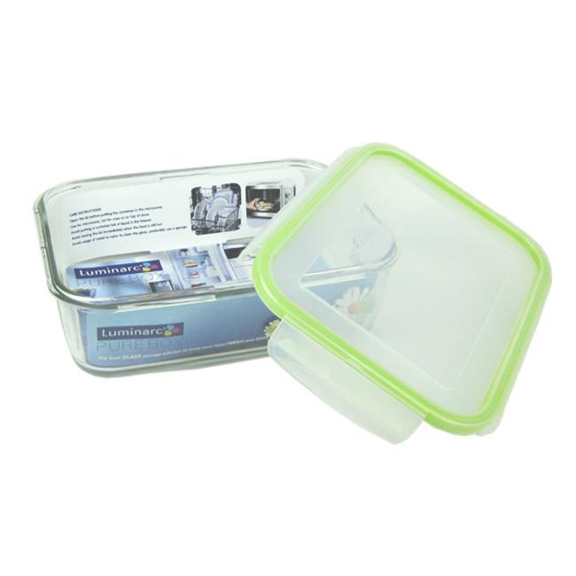 法國luminarc樂美雅pure box 玻璃長型印花保鮮盒1970ml