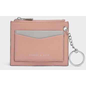 【2019 FALL 新作】ツートーンジップ ポケットカードホルダー / Two-Tone Zip Pocket Card Holder(Pink)