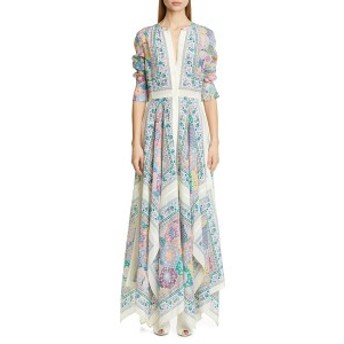 アルチュザラ レディース ワンピース トップス Altuzarra Scarf Print Long Sleeve Silk Maxi Dress Ivory Multi