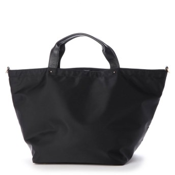 ヴィータフェリーチェ VitaFelice 本革×ナイロントートバッグ 本革ハンドル A4 斜めがけ 2way ショルダーバッグ 旅行バッグ 出張バッグ マザーバッグ (BLACK)