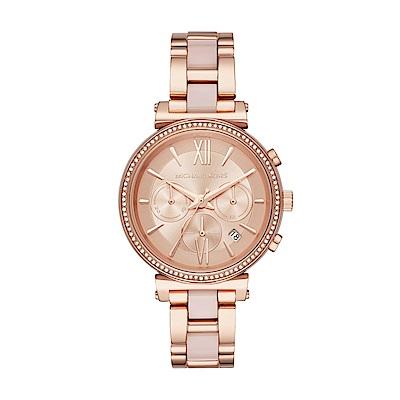 (領券再折660)MICHAEL KORS美式情緣三眼計時玫瑰金時尚腕錶/MK6560
