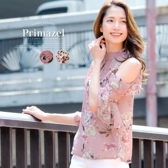 Primazel オープンショルダーハイネック花柄ブラウス
