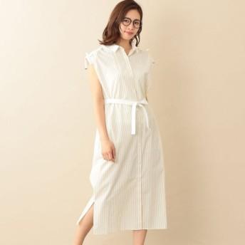 SALE【ル ジュール(LE JOUR)】 【RELDI】STRIPE CLERIC SHIRT DRESS イエロー系