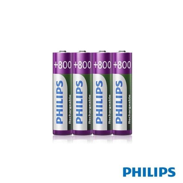 [富廉網]【PHILIPS】飛利浦 低自放充電電池 4號 4顆入