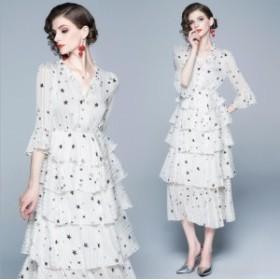 結婚式 パーティー 大人清潔感 星柄 ペプラム 5段フレア ドレス ワンピース[S/M/L/2L/3L][白]