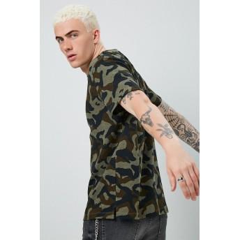 Tシャツ - FOREVER 21【MEN】 【カモフラクルーネックTシャツ】 グラフィック ロゴt 緑 カーキ S M