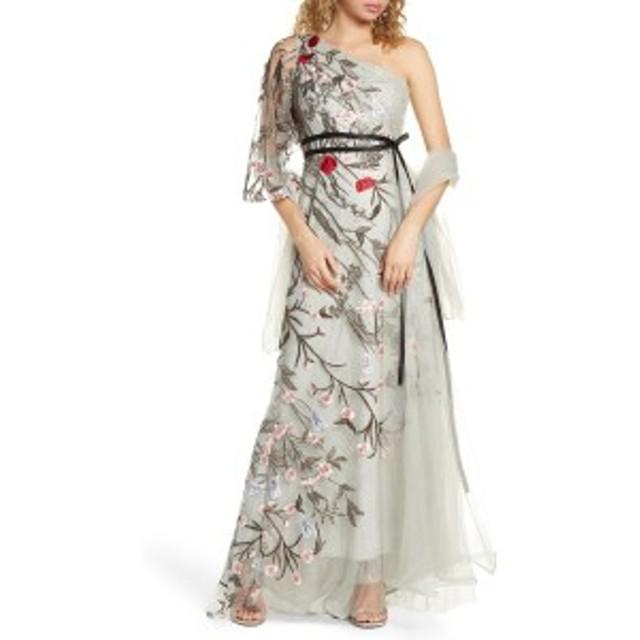 マックダガル レディース ワンピース トップス Mac Duggal One-Shoulder Asymmetrical Embroidered Gown Gray Multi
