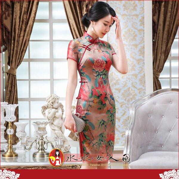 【水水女人國】~清新綠意旗袍風~風姿。復古仿香雲紗印花改良式時尚優雅修身短袖短旗袍