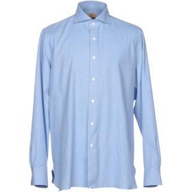 《送料無料》LUIGI BORRELLI NAPOLI メンズ シャツ アジュールブルー 40 コットン 100%