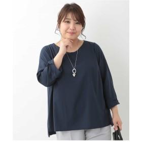 eur3 【大きいサイズ】袖デザインブラウス シャツ・ブラウス,ネイビー