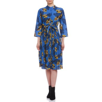 【70%OFF】ストレッチ リーフプリント プリーツ リボンベルト付 ドレス ブルー f