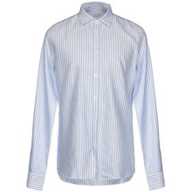 《送料無料》AGLINI メンズ シャツ アジュールブルー 42 コットン 60% / 麻 40%
