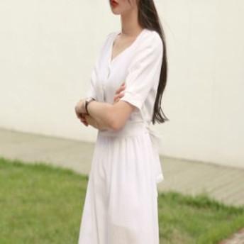 ワンピース バックリボン レディース ひざ下丈 ミモレ丈 袖あり 夏 秋 白ワンピース かわいい デート