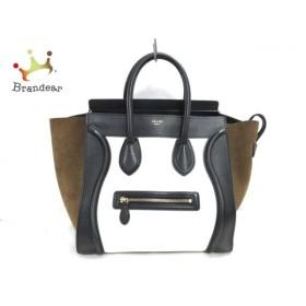 セリーヌ ハンドバッグ ラゲージミニショッパー 白×黒×ダークブラウン レザー×スエード  値下げ 20190707