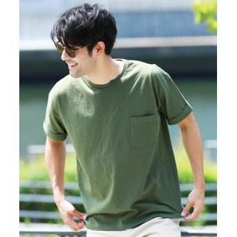 ジギーズショップ ルーズシルエットTシャツ / Tシャツ メンズ ティーシャツ 半袖 クルーネック メンズ カーキ L 【JIGGYS SHOP】
