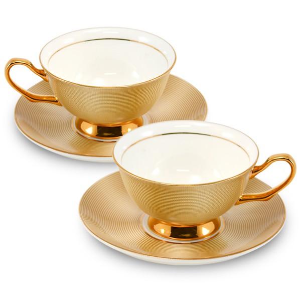 【堯峰陶瓷】精選咖啡杯 皇室的最愛 骨瓷咖啡杯碟組 香檳金 二杯二碟(送精美禮盒)