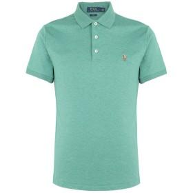 《期間限定セール開催中!》POLO RALPH LAUREN メンズ ポロシャツ グリーン XS コットン 100% CUSTOM SLIM SOFT-TOUCH POLO