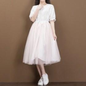 ワンピース 半袖 ロング丈 レース 花柄 シンプル 上品 ドレス ドッキング チュール 結婚式 パーティー