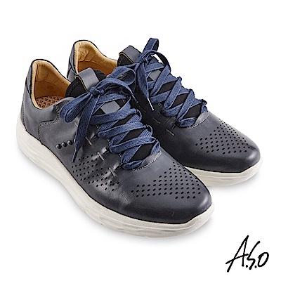 A.S.O機能休閒 超能耐II代拋色沖孔綁帶休閒鞋-深灰