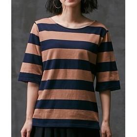 太ボーダー5分袖プルオーバー (Tシャツ・カットソー)(レディース)T-shirts